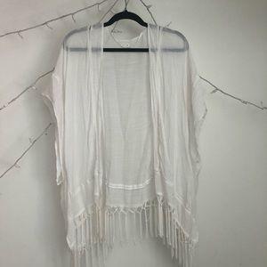 O/S Garage white tasseled kimono